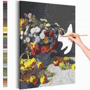 Цветы и фрукты Клод Моне / Известные картины Раскраска картина по номерам на холсте AAAA-RS268