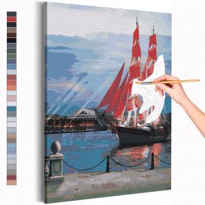 Пример картины и схема Алые паруса в Санкт-Петербурге / Парусник Раскраска картина по номерам на холсте AAAA-RS274