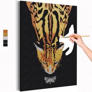Пример картины и схема Кот и бабочка / Животные Раскраска картина по номерам на холсте с металлической краской AAAA-RS281