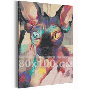 Пример в интерьере Радужный сфинкс / Кот 80х100 см Раскраска картина по номерам на холсте с неоновой краской AAAA-RS226-80x100