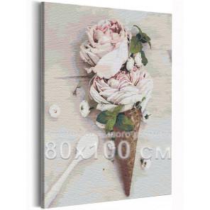 Розы мороженое / Цветы 80х100 см Раскраска картина по номерам на холсте AAAA-RS227-80x100