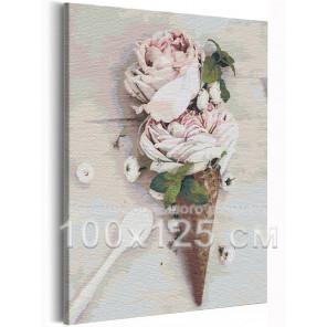 Розы мороженое / Цветы 100х125 см Раскраска картина по номерам на холсте AAAA-RS227-100x125