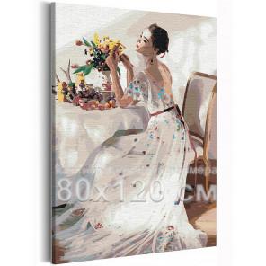 Девушка и букет цветов на столе 80х120 см Раскраска картина по номерам на холсте AAAA-RS210-80x120