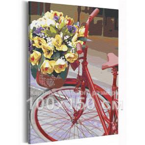 Велосипед и букет цветов / Прогулка 100х150 см Раскраска картина по номерам на холсте AAAA-RS214-100x150