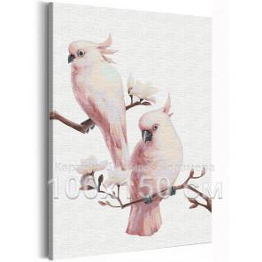Попугаи на ветке / Птички 100х150 см Раскраска картина по номерам на холсте AAAA-RS215-100x150