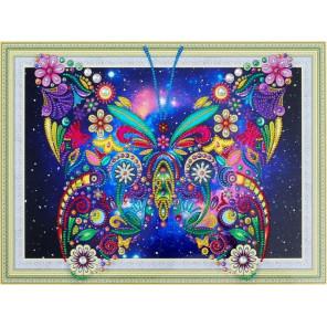Цветочная бабочка Алмазная картина фигурными стразами Color Kit FM008