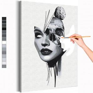 Девушка и череп / Абстракция Раскраска картина по номерам на холсте AAAA-RS286