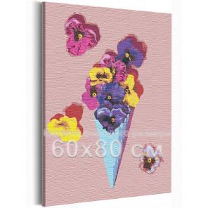 Анютины глазки мороженое / Цветы 60х80 см Раскраска картина по номерам на холсте AAAA-RS232-60x80