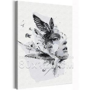 Девушка и птицы / Абстракция 80х120 см Раскраска картина по номерам на холсте AAAA-RS291-80x120