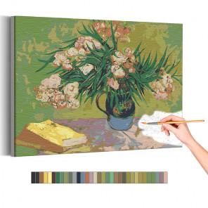 Пример картины и схема Натюрморт с олеандром Винсент Ван Гог / Известные картины Раскраска картина по номерам на холсте AAAA-RS
