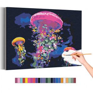 Пример картины и схема Неоновые медузы / Море Раскраска картина по номерам на холсте с неоновой краской AAAA-RS175