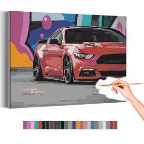 Красный автомобиль на ярком фоне / Машины Раскраска картина по номерам на холсте AAAA-RS182