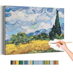 Пример картины и схема Пшеничное поле с кипарисом Винсент Ван Гог / Известные картины Раскраска картина по номерам на холсте AA