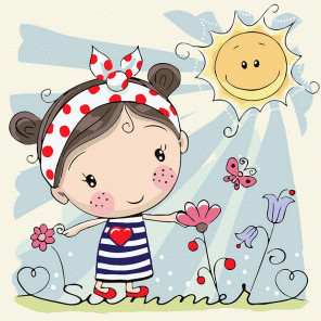 Девочка на лужайке Картина по номерам Molly KH1068