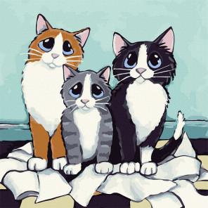 Пример готовой работы Кошачье трио Картина по номерам Molly KH1083