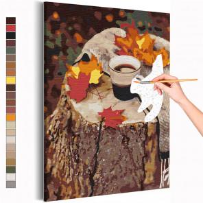 Кофе на природе / Осень Раскраска картина по номерам на холсте AAAA-RS362
