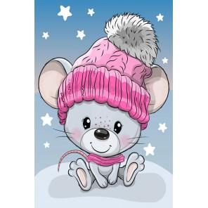 Мышка в шапке Алмазная вышивка мозаика LC045