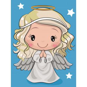 Белый Ангелок Раскраска картина по номерам на холсте MC1113