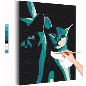 Два кота / Кошки / Животные Раскраска картина по номерам на холсте AAAA-RS393