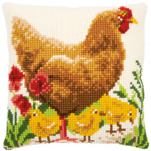 Курица с цыплятами Набор для вышивания подушки Vervaco PN-0172782