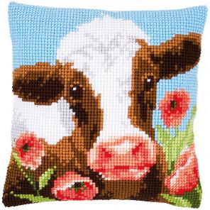 Корова в маковом лугу Набор для вышивания подушки Vervaco PN-0162311