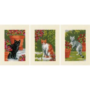 Кошки среди цветов Набор для вышивания Vervaco PN-0188672