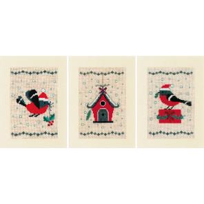 Рождественская птица и дом Набор для вышивания подушки Vervaco PN-0165028