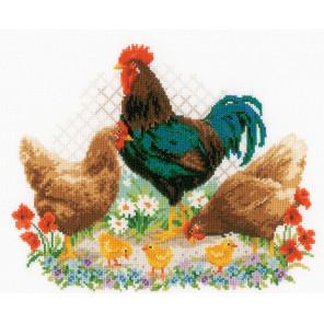 Петух с цыплятами Набор для вышивания подушки Vervaco PN-0170173