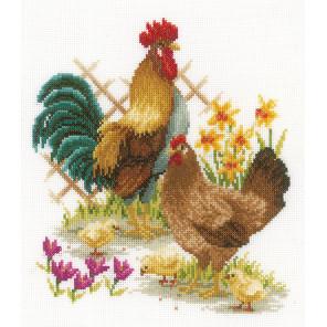 Петух и курицы Набор для вышивания подушки Vervaco PN-0156469