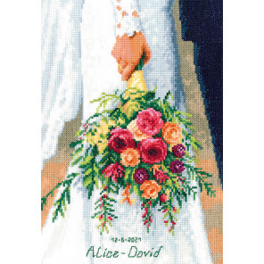 Свадебный букет Набор для вышивания подушки Vervaco PN-0189338