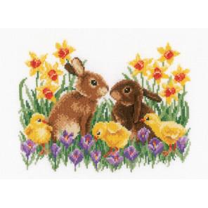 Кролики с цыплятами Набор для вышивания Vervaco PN-0163023