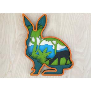 Лесной заяц Деревяный 3D пазл с красками SR003