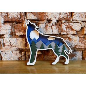Ночной волк Деревяный 3D пазл с красками SR001