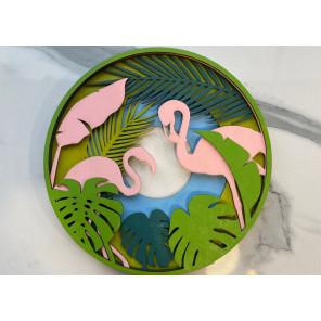 Розовые фламинго Деревяный 3D пазл с красками SR004