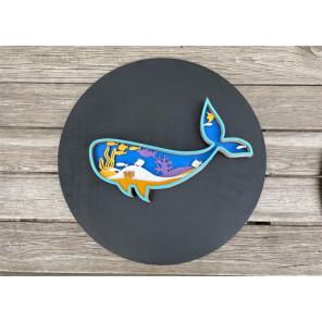 Синий кит Деревяный 3D пазл с красками SR002