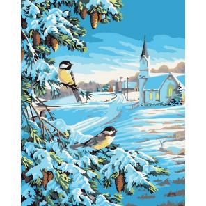 Снежная зима Раскраска ( картина ) по номерам акриловыми красками на холсте Белоснежка