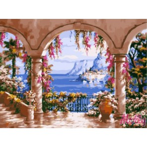 Вид с террасы Раскраска (картина) по номерам акриловыми красками на холсте Molly