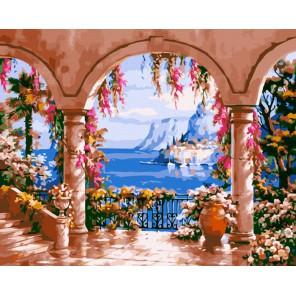 Терраса с видом на залив Раскраска ( картина ) по номерам акриловыми красками на холсте Iteso
