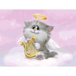 Котёнок-ангелочек Раскраска ( картина ) по номерам на холсте Белоснежка