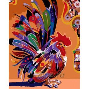 Цветной петух Раскраска картина по номерам акриловыми красками на холсте Русская живопись