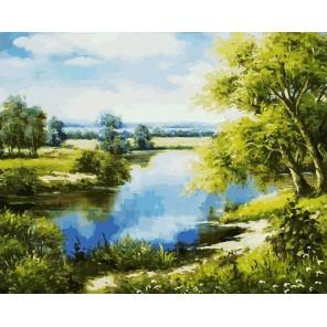 Лесное озеро Раскраска картина по номерам акриловыми красками на холсте Белоснежка