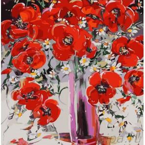 Маки в вазе Раскраска картина по номерам акриловыми красками Color Kit