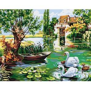 Деревенский пруд Раскраска картина по номерам акриловыми красками на холсте Molly