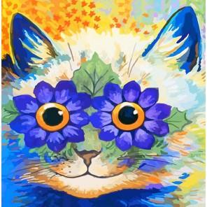 Цветочный кот Раскраска картина по номерам акриловыми красками Color Kit
