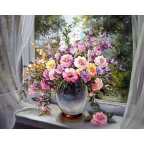 Цветы на подоконнике Алмазная мозаика вышивка Гранни | Алмазная мозаика купить