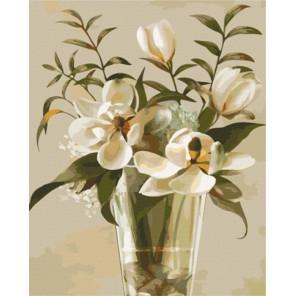 Магнолия в вазе Раскраска картина по номерам акриловыми красками на холсте  Картина по номерам купить