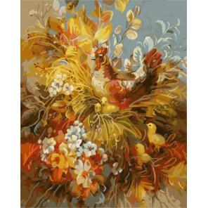 Курочка и цыплята Раскраска картина по номерам акриловыми красками на холсте  Картина по номерам купить
