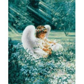 Ангелочек с кроликом Раскраска картина по номерам акриловыми красками на холсте | Картина по цифрам купить