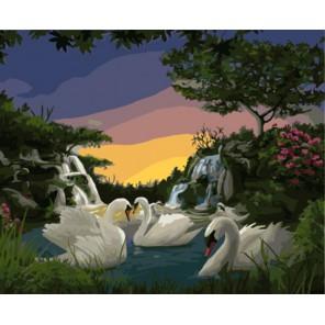 Лебеди на озере Раскраска картина по номерам акриловыми красками на холсте | Картина по цифрам купить