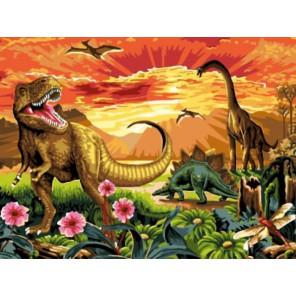 Земля динозавров Раскраска картина по номерам акриловыми красками на холсте